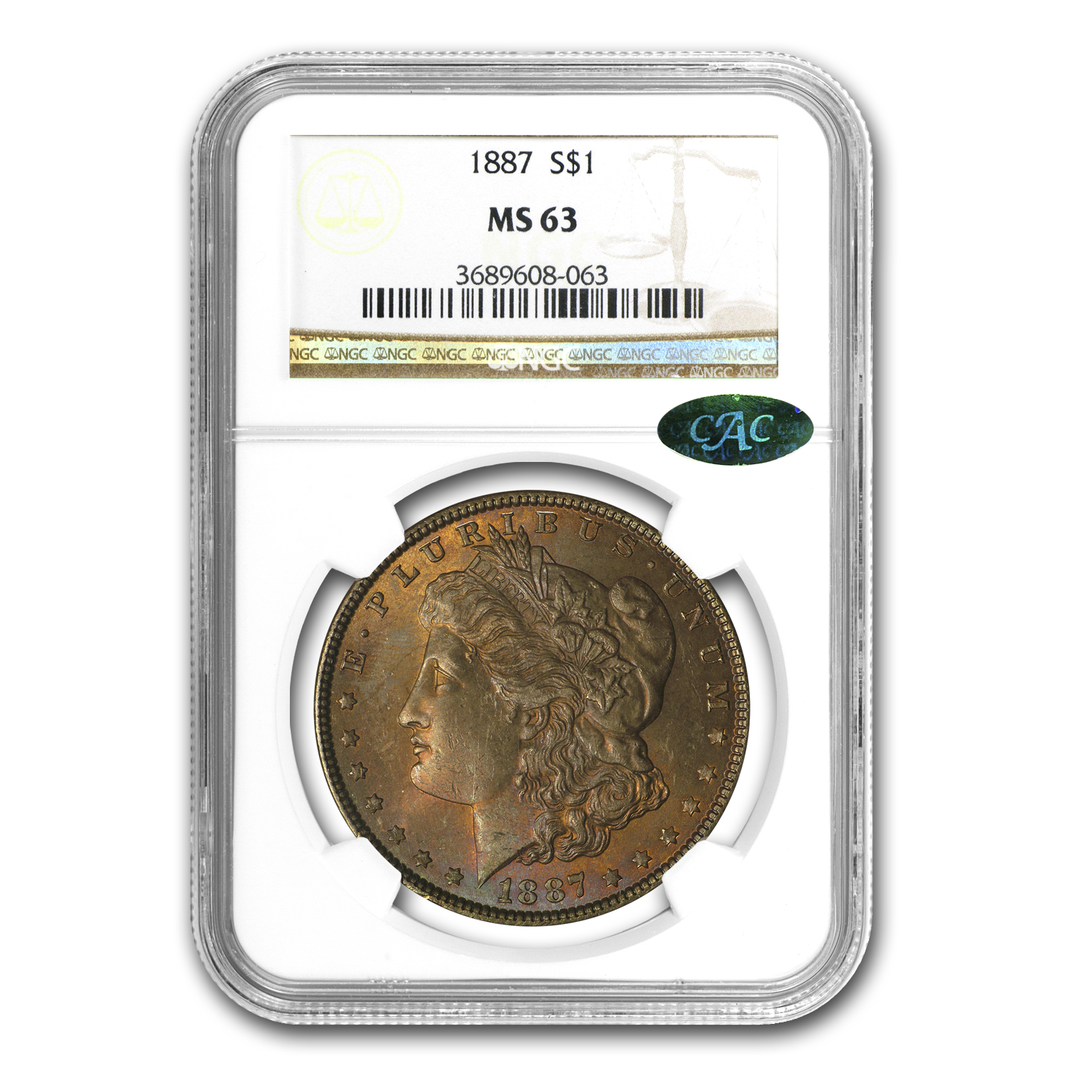 1887 Morgan Dollar MS-63 NGC (Nice Toning, CAC)